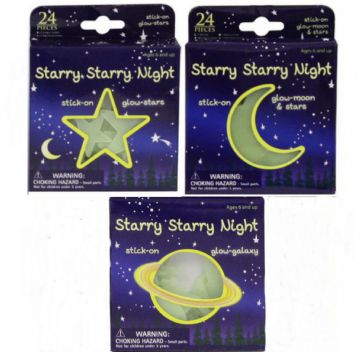 24pc Glow in the Dark Stickers Moon Stars Planets Childs Kids Stocking Filler